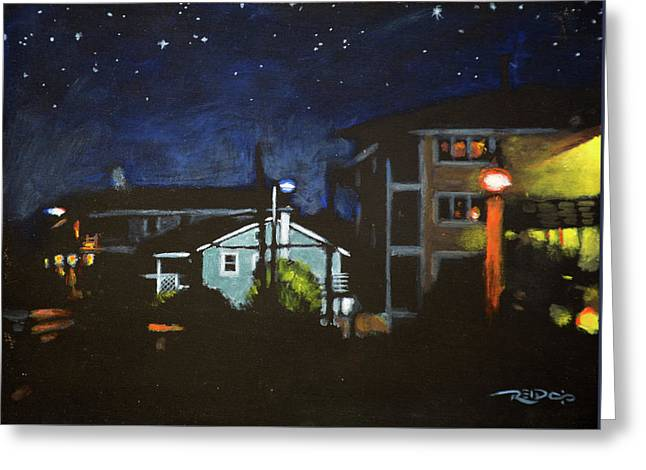 Night Lights Greeting Card by Christopher Reid