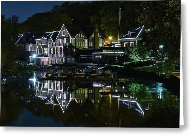 Night Lights Of Boathouse Row Greeting Card by Frozen in Time Fine Art Photography