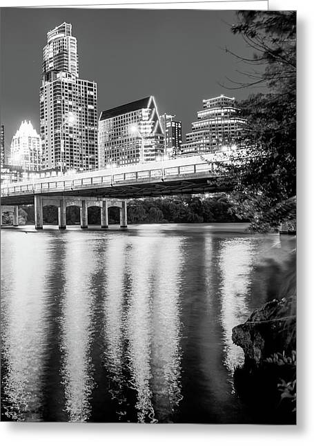 Night Lights Of The Austin City Skyline - Black And White Greeting Card