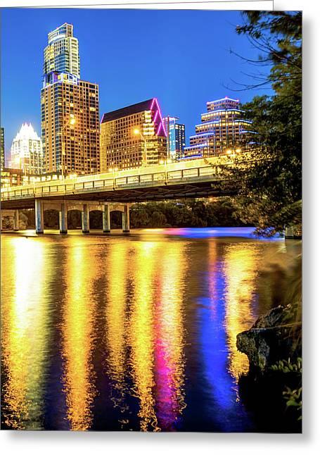 Night Lights Of The Austin City Skyline Greeting Card