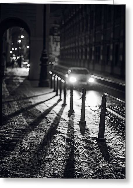 Greeting Card featuring the photograph Night Lights. Prague by Jenny Rainbow