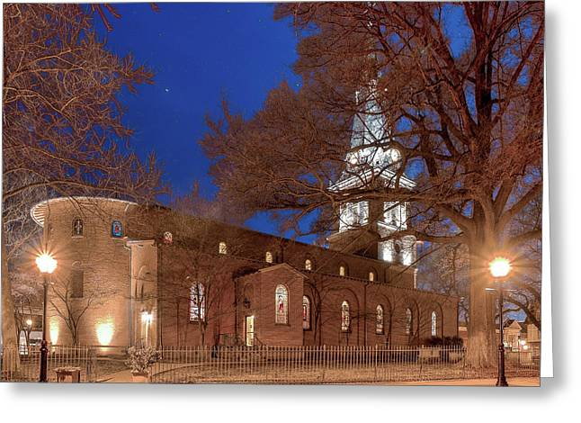 Greeting Card featuring the digital art Night Lights St Anne's In The Circle by Jim Proctor