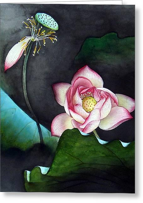 Night Lotus Greeting Card by Leaf Moore