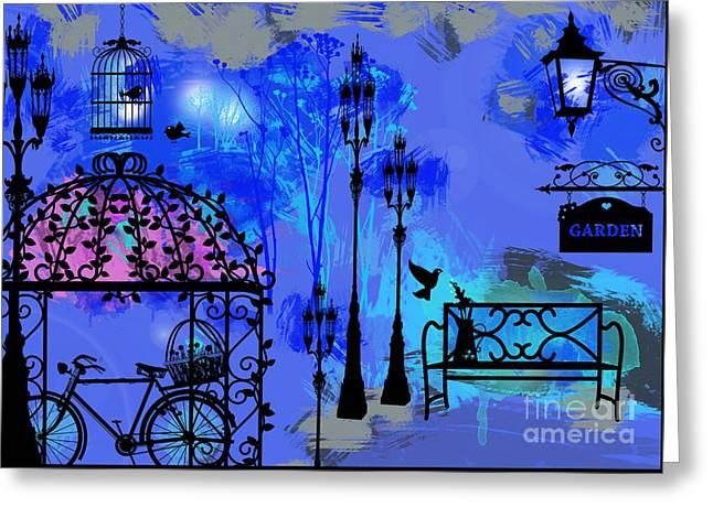 Night Love Garden  Greeting Card by Prar Kulasekara