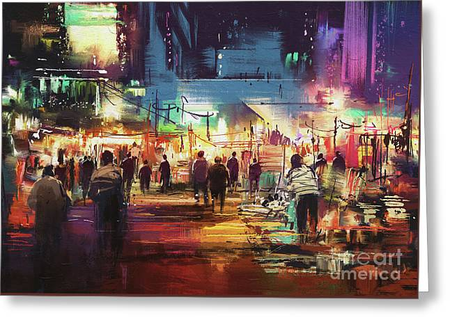 Greeting Card featuring the painting Night Market by Tithi Luadthong