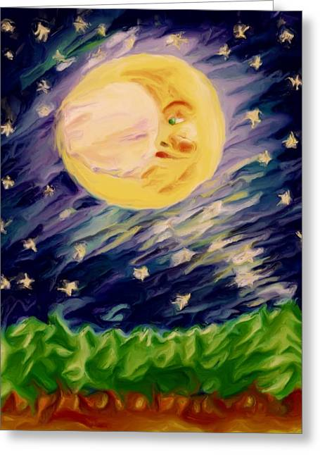 Greeting Card featuring the painting Night Moon by Shelley Bain