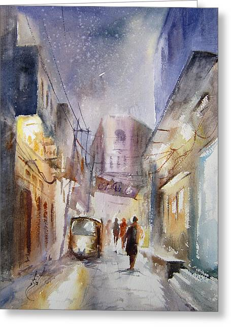 Night Of Lahore Greeting Card by MKazmi Syed