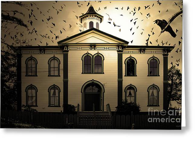 Night Of The Birds . Sepia . 7d12487 Greeting Card