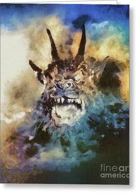 Night Of The Demon, Vintage Horror Greeting Card by Mary Bassett