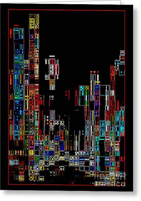 Night On The Town - Digital Art Greeting Card by Carol Groenen