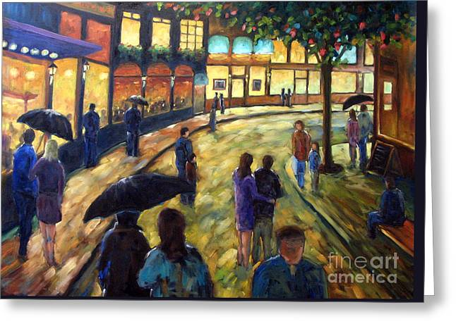 Night On The Town Greeting Card by Richard T Pranke