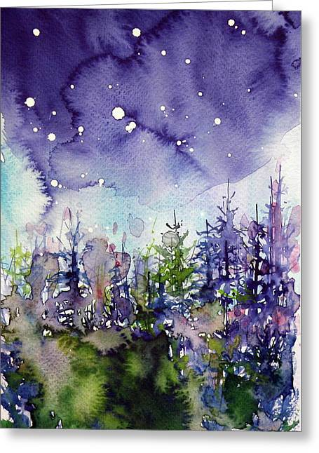 Night Over The Forest Greeting Card by Kovacs Anna Brigitta