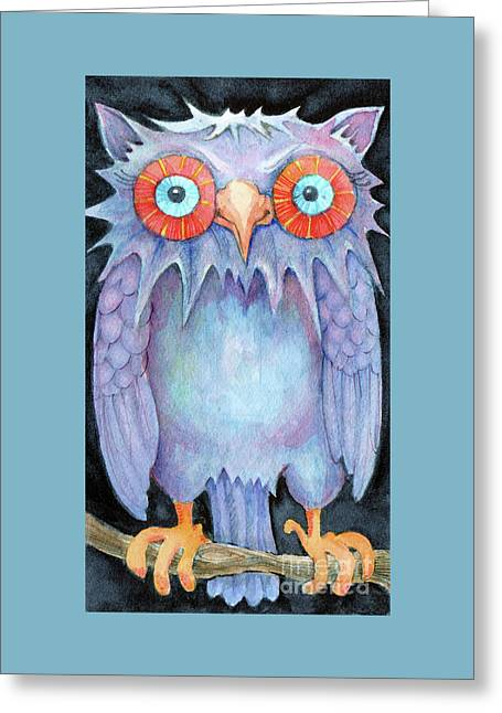 Greeting Card featuring the painting Night Owl by Lora Serra