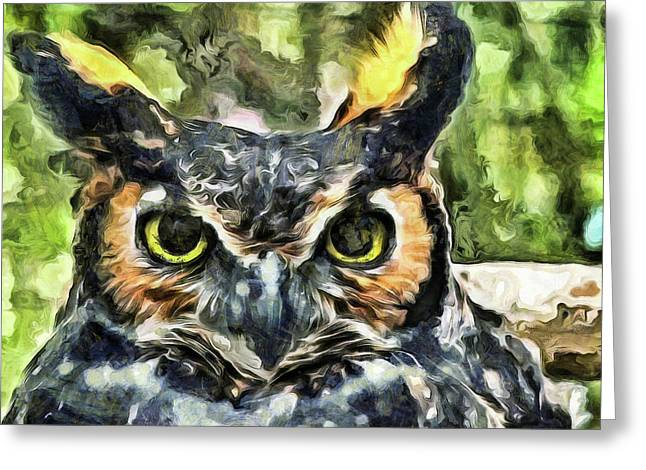 Greeting Card featuring the mixed media Night Owl by Trish Tritz