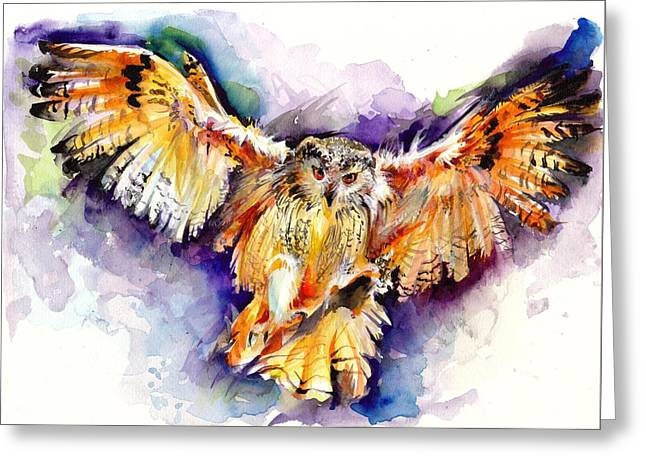 Night Owl Watercolor, Hunting Owl, Flying Brown Owl Greeting Card