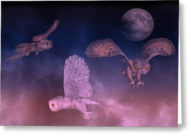 Night Owls Greeting Card by Betsy Knapp