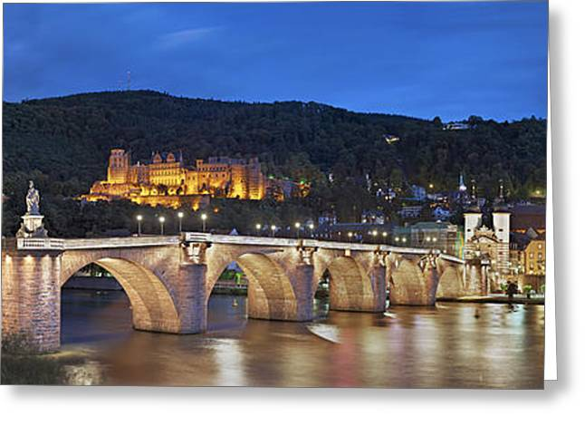 The Church Greeting Cards - Night Panorama Heidelberg Greeting Card by Travel Images Worldwide