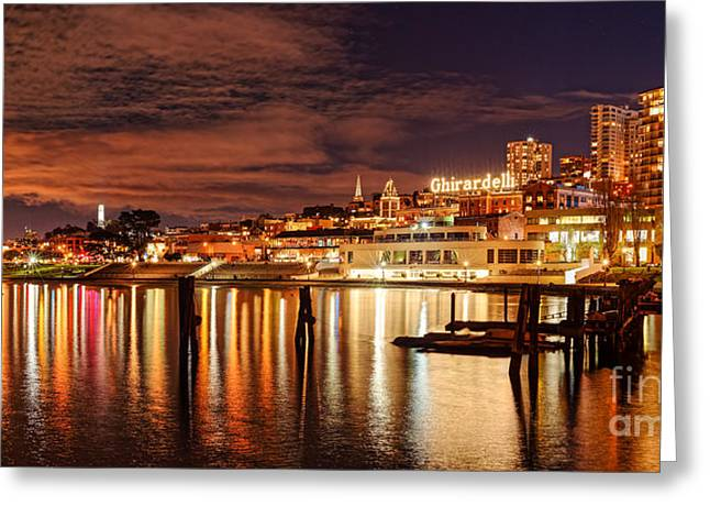 Night Panorama Of Fisherman's Wharf And Ghirardelli Square - San Francisco California Greeting Card by Silvio Ligutti