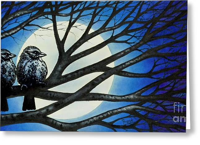 Greeting Card featuring the painting Night Perch by Michael Frank