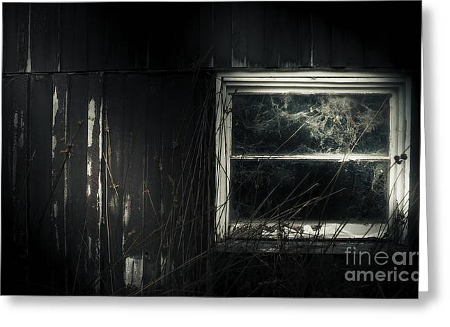 Night Photo Of An Eerie Grunge Window In Moonlight Greeting Card by Jorgo Photography - Wall Art Gallery