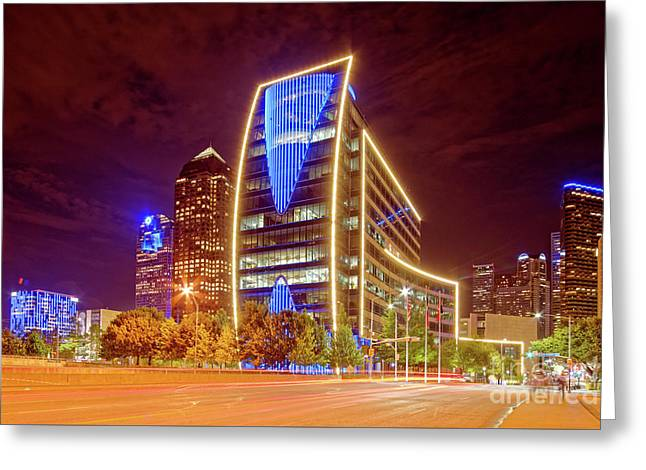 Night Photograph Of Downtown Dallas Skyline - Hunt Oil Building Dallas Texas Greeting Card by Silvio Ligutti