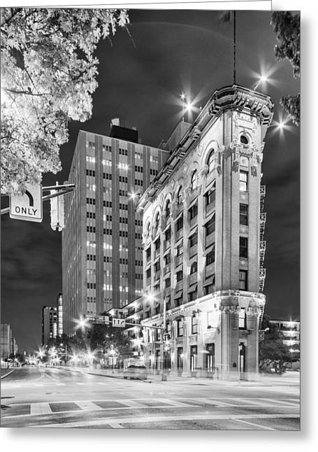 Night Photograph Of The Flatiron Or Saunders Triangle Building - Downtown Fort Worth - Texas Greeting Card by Silvio Ligutti