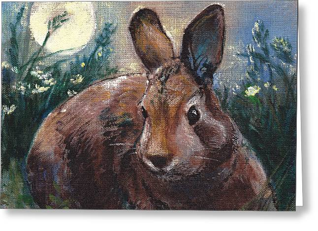 Night Rabbit I Greeting Card by Tracie Thompson