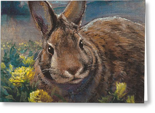 Night Rabbit II Greeting Card by Tracie Thompson