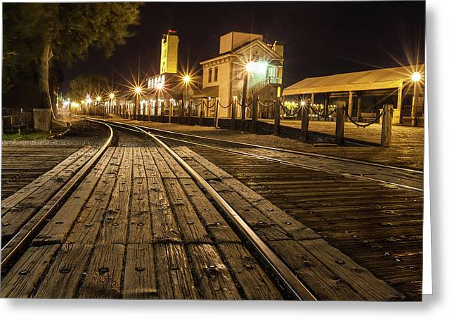 Greeting Card featuring the photograph Night Rails by Charles Garcia
