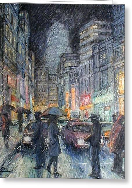 Night Rain Greeting Card by Henry Potwin
