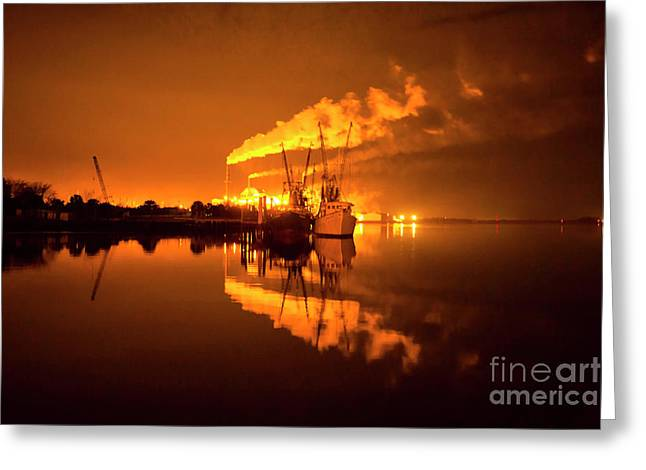 Night Reflections Of A Paper Mill Greeting Card