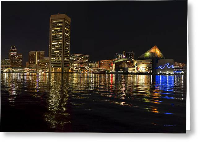 Night Reflections - Pano Greeting Card by Brian Wallace