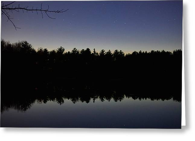 Night Reflects On The Pond Greeting Card