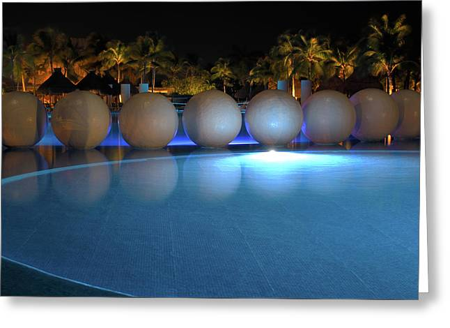 Greeting Card featuring the photograph Night Resort by Shane Bechler
