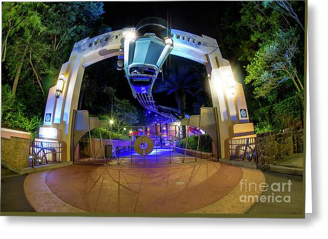 Night Ride On The Rock And Roll Coaster Greeting Card