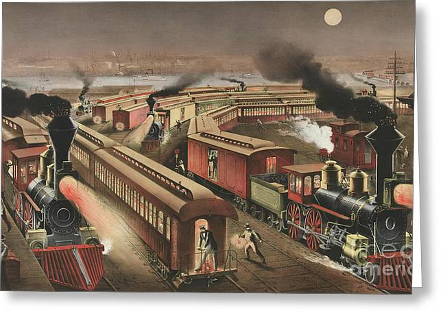 Night Scene At An American Railway Junction Greeting Card