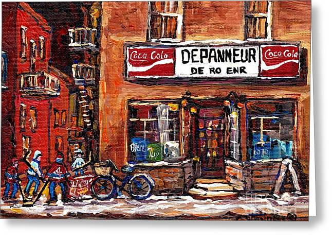 Night Scene Hockey Laneway Painting Depanneur De-ro Rue De La Roche Best Montreal Winter Art Scenes  Greeting Card by Carole Spandau