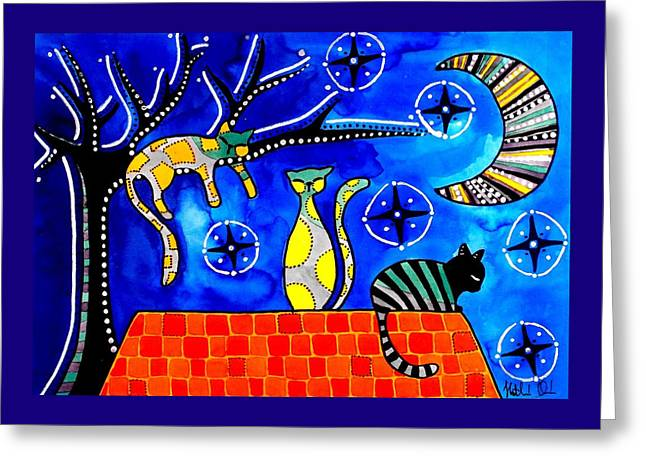 Night Shift - Cat Art By Dora Hathazi Mendes Greeting Card