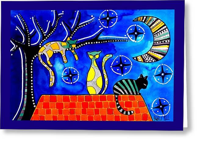 Night Shift - Cat Art By Dora Hathazi Mendes Greeting Card by Dora Hathazi Mendes