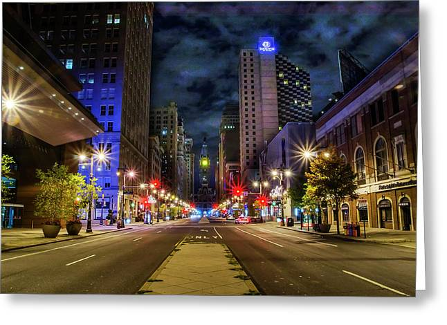 Night Shot Of Broad Street - Philadelphia Greeting Card by Bill Cannon