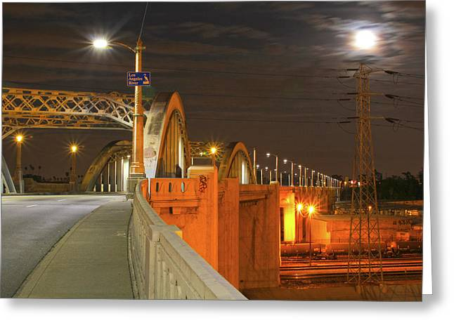 Night Shot Of The Los Angeles 6th Street Bridge And Supermoon #1 Greeting Card