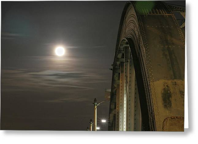 Night Shot Of The Los Angeles 6th Street Bridge And Supermoon #2 Greeting Card