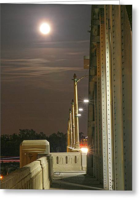 Night Shot Of The Los Angeles 6th Street Bridge And Supermoon #3 Greeting Card