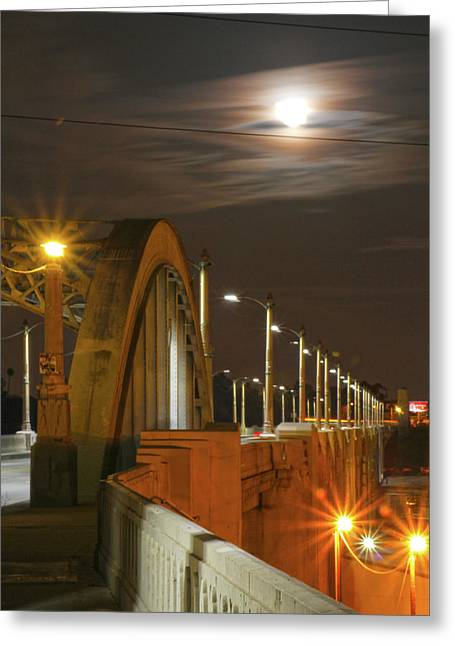 Night Shot Of The Los Angeles 6th Street Bridge And Supermoon #4 Greeting Card