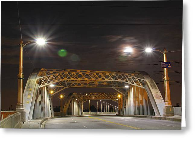 Night Shot Of The Los Angeles 6th Street Bridge And Supermoon #5 Greeting Card