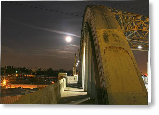 Night Shot Of The Los Angeles 6th Street Bridge And Supermoon #6 Greeting Card