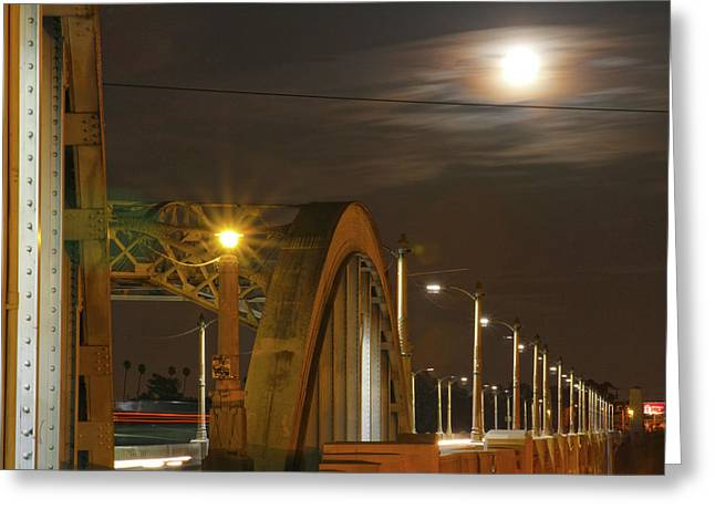 Night Shot Of The Los Angeles 6th Street Bridge And Supermoon #7 Greeting Card