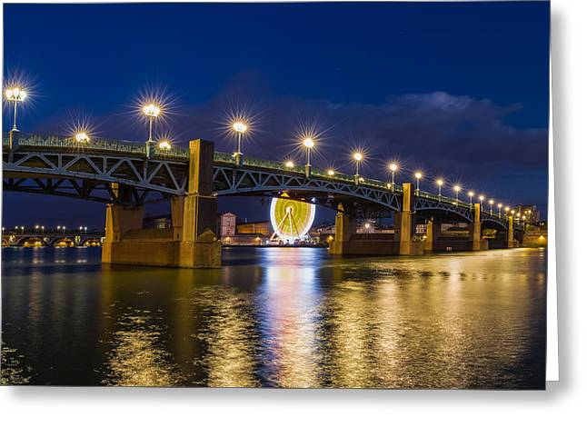 Night Shot Of The Pont Saint-pierre Greeting Card by Semmick Photo