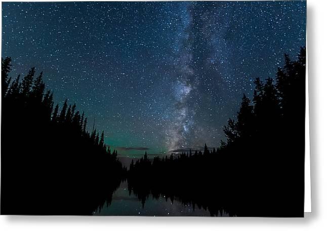 Night Skies Over Lake Irene Greeting Card