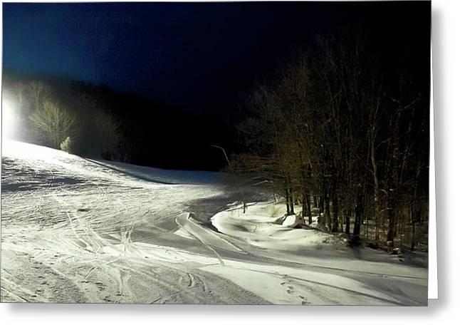Night Skiing At Mccauley Mountain Greeting Card by David Patterson
